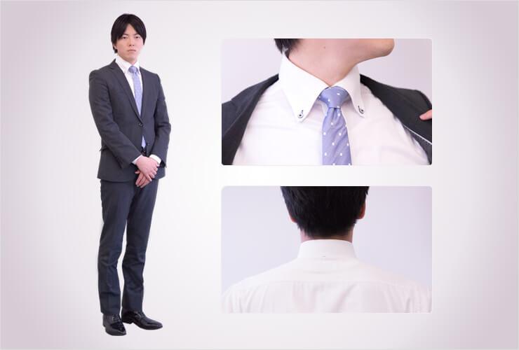 面接で着用するワイシャツの襟元
