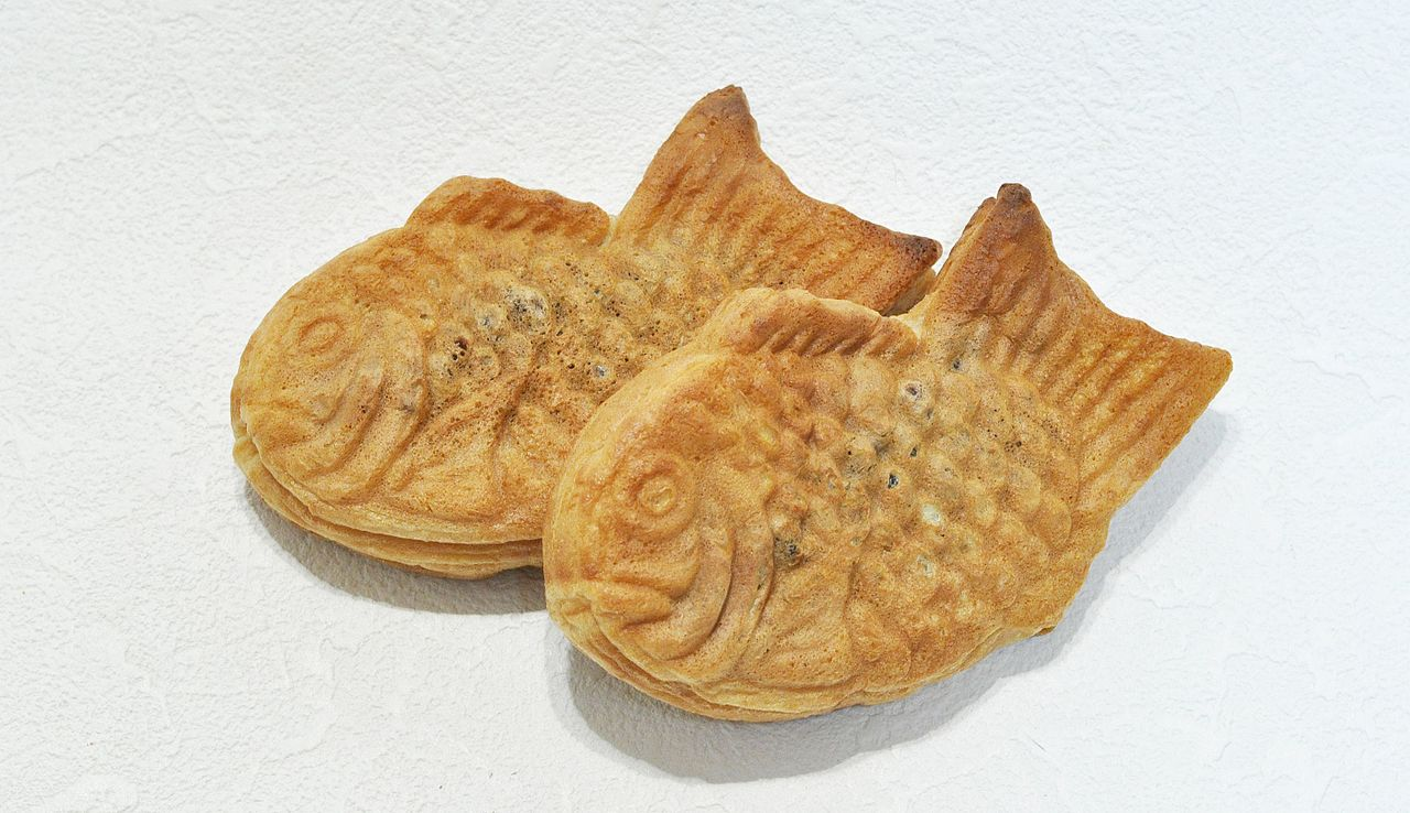 Taiyaki fish cookies and cake in Japan sometimes with ice cream