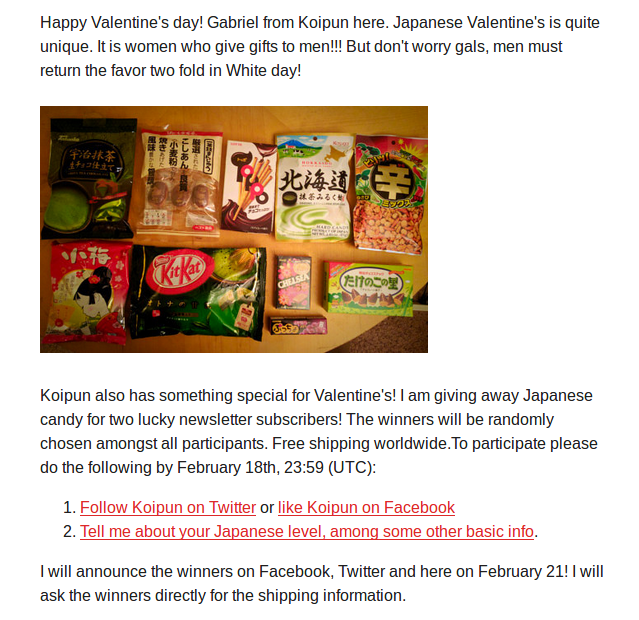 Valentine's Japanese Candy Giveaway for the Koipun mailing list