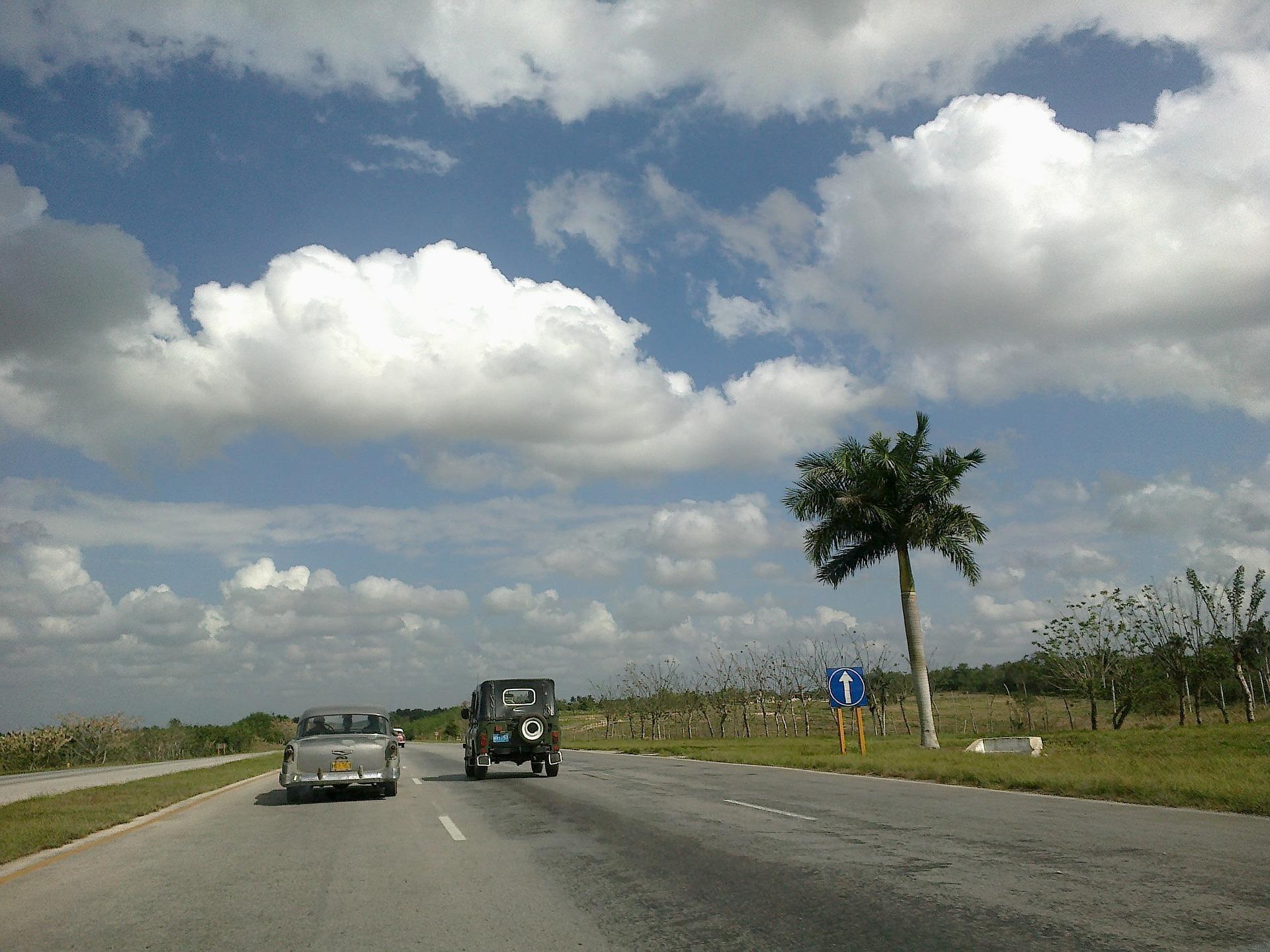 Driving down the beach road in Cuba