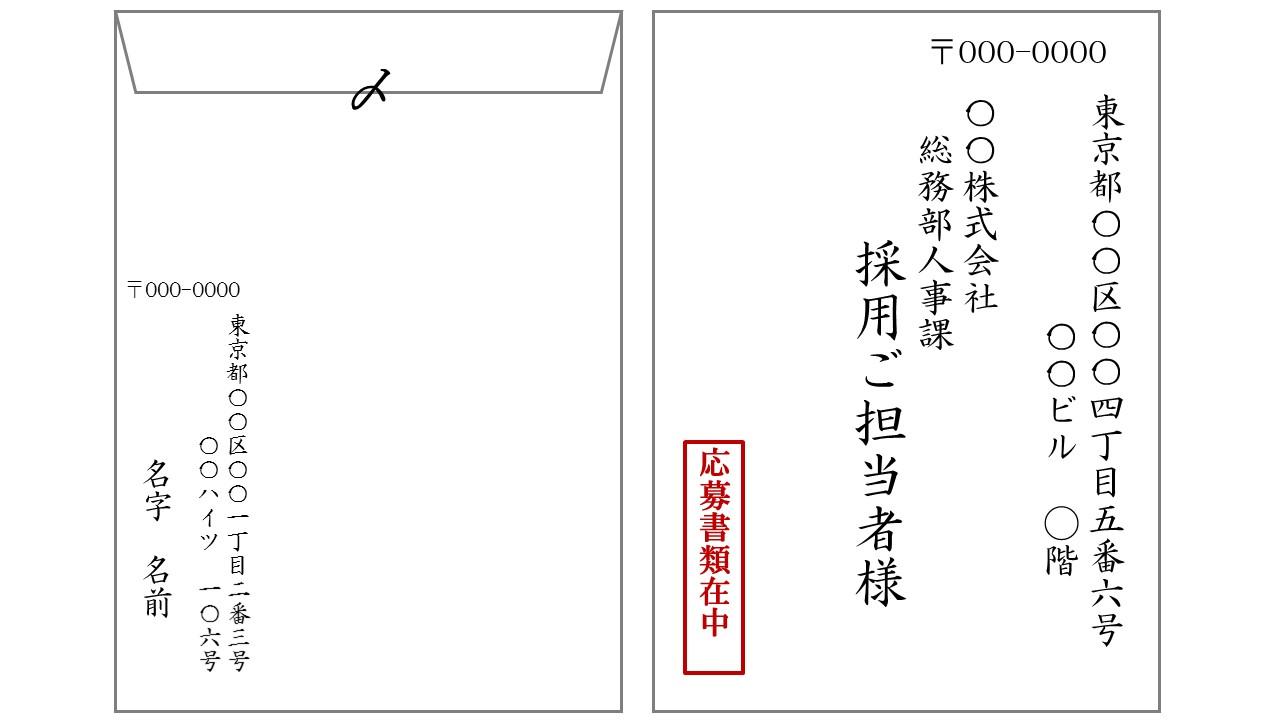 履歴書送付の際の封筒記入例